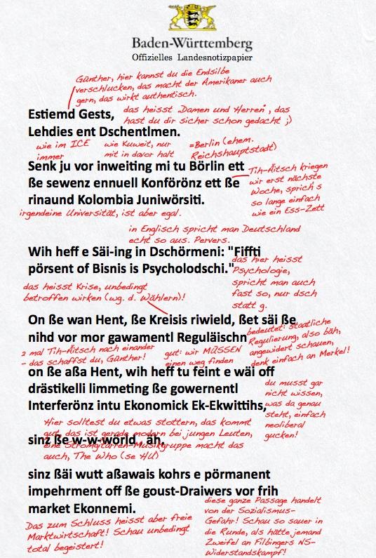 Sensation Scan Von Oettingers Redemanuskript Aufgetaucht